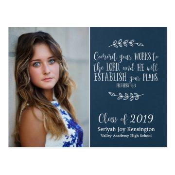 Christian Graduation Bible Verse Typography | Blue Postcard