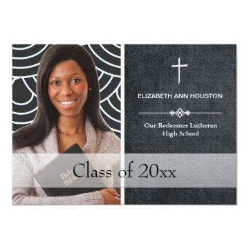 Christian Graduation Photo Announcement Black