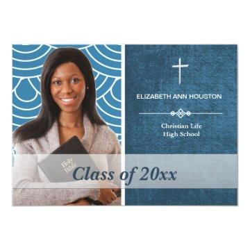 Christian Graduation Photo Announcement Blue