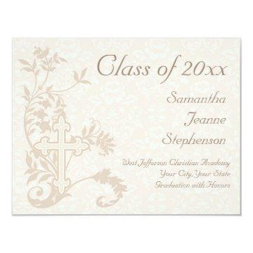 Christian Religious Graduation Announcement, Cream Card