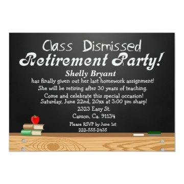 Class Dismissed Chalkboard Teacher Retirement