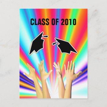 Class of 2010 Graduation Caps and Hands Announcement Postcard