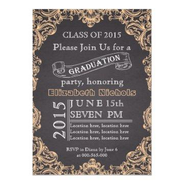 Class of 2015 chalkboard peach graduation card