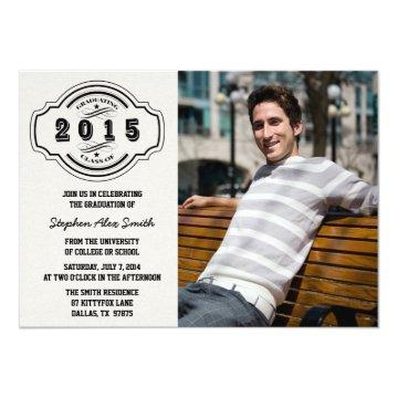 Class of 2015 gray black photo graduation party card