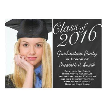 Class of 2016 Graduation Party Chalkboard Portrait Card