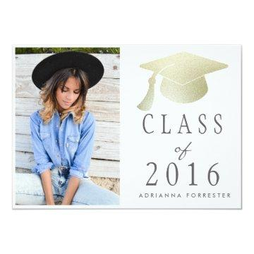 Class Of 2016 Silver Foil Graduation Hat Photo Card