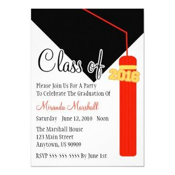 Class Of 2016 Tassel Graduation Invite (Red)