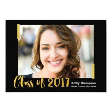 Class of 2017 Black Gold Photo Graduation Party Card