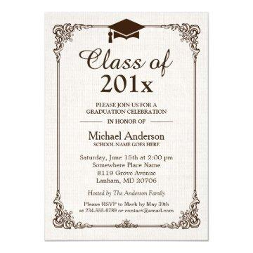 Class of 2017 Graduation Ivory Linen Vintage Frame Card