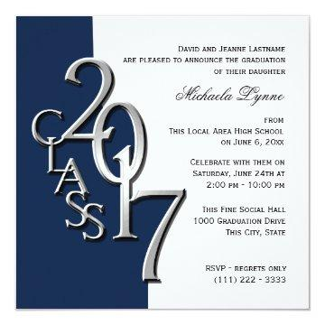Class of 2017 Photo Graduation Blue Silver Invitation