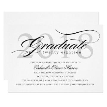 Class of 2018 Elegant Graduate Graduation Party Invitation