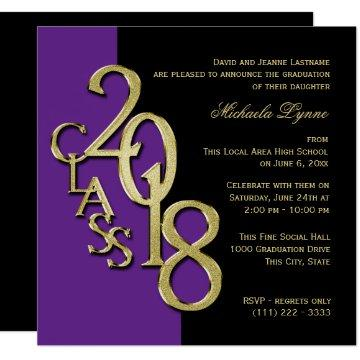 Class of 2018 Grad Purple and Gold Invitation