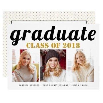 Class of 2018 graduate gold typography photo card