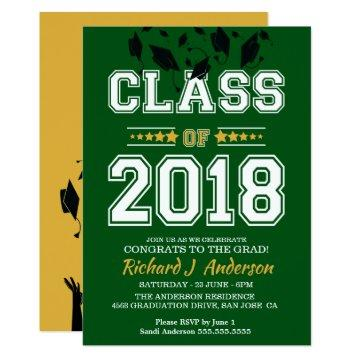 Class of 2018 Green and Yellow Grad Party Card