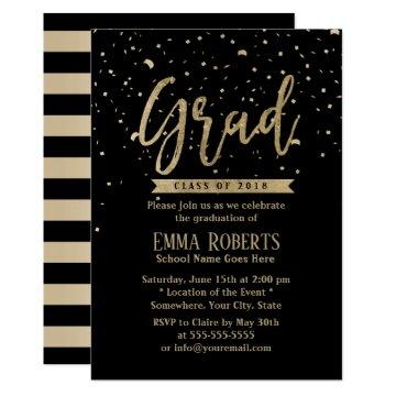 Class of 2018 Modern Gold Confetti Graduation Invitation