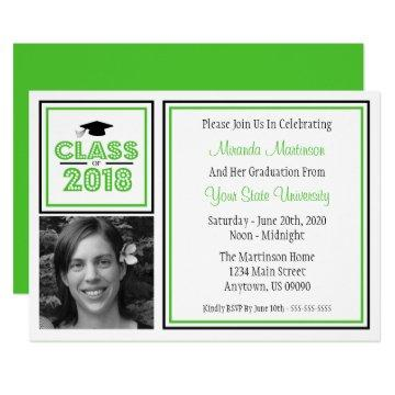 Class Of 2018 Photo Graduation Invitation (Lime)