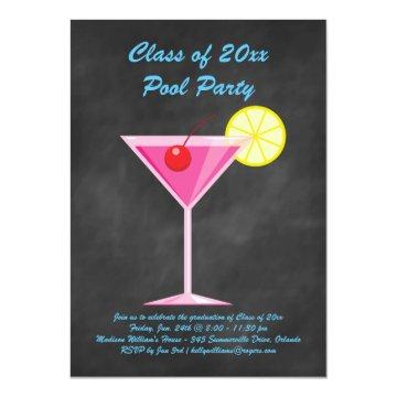 Class of 2018 Pool Party Invite Chalkboard & Pink