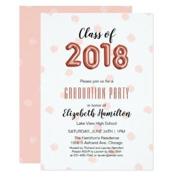 Class of 2018 Rose Gold Balloon Numbers Graduation Card