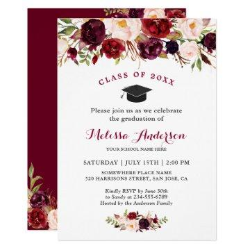 Class of 2019 Burgundy Red Floral Graduation Party