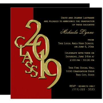 Class of 2019 Elegant Gold and Red Invitation