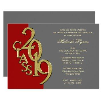 Class of 2019 Grad Gold Red Grey Invitation