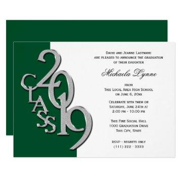Class of 2019 Grad Silver and Green Invitation