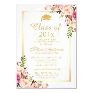 Class of 2019 Graduation Elegant Chic Floral Gold