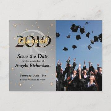 Class of 2019 Graduation Monogram Save the Date Invitation Postcard