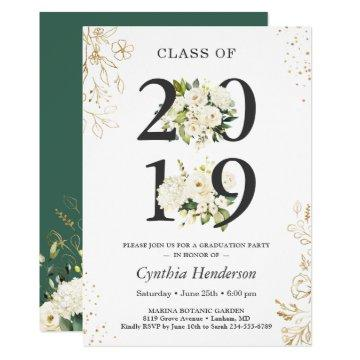 Class of 2019 Greenery Floral Graduation Party Invitation