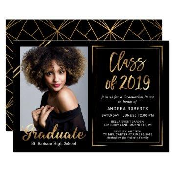 Class of 2019 Modern Black Gold Photo Graduation Invitation