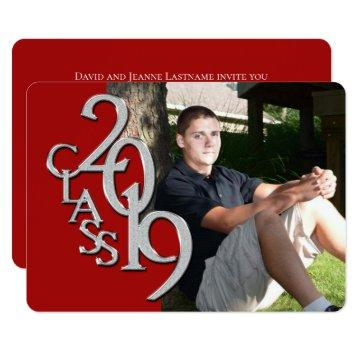 Class of 2019 Red Photo Graduation Invitation