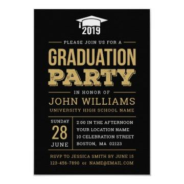 Class of 2019 Rustic Black Gold Graduation Party Invitation