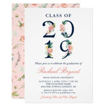 Class of 2019 Watercolor Coral Floral Graduation