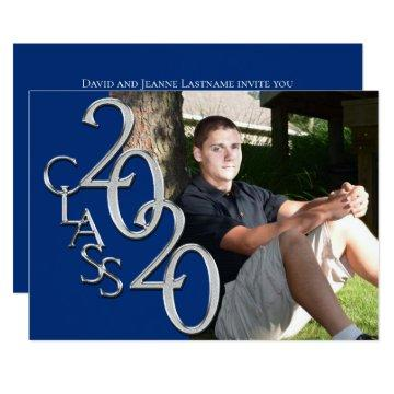 Class of 2020 Blue Photo Graduation Invitation