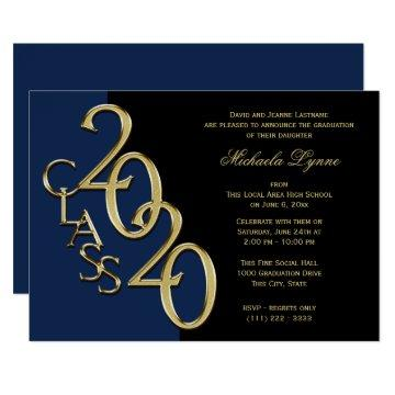 Class of 2020 Grad Gold with Color Option Invitation