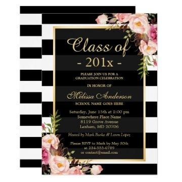 Class of 2020 Graduation Classy Floral Stripes Invitation