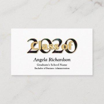 Class of 2020 Graduation Gold Black Typography Business Card