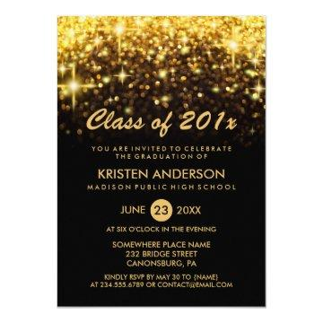 Class of 2020 Graduation Gold Glitter Glam Sparkle Invitation