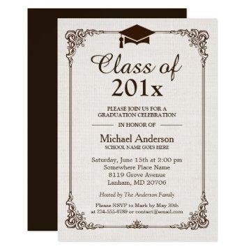 Class of 2020 Graduation Ivory Linen Vintage Frame Invitation