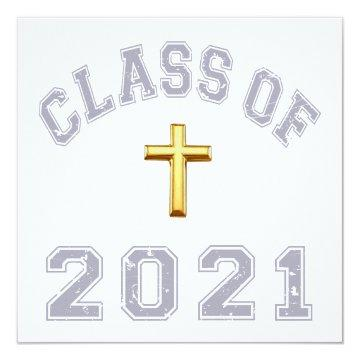 Class Of 2021 Christian Cross - Grey 2 Card