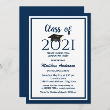 Class of 2021 Elegant Navy Blue Graduation Party Invitation