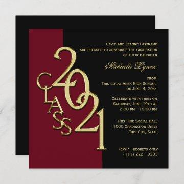 Class of 2021 Grad Burgundy and Gold Invitation