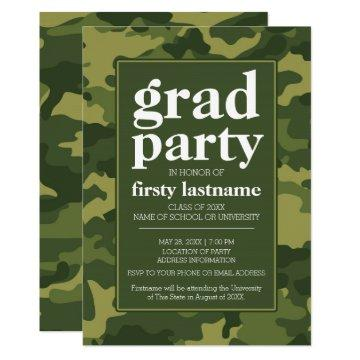 Class of Any Year - Graduation Party green camo Invitation