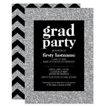 Class of - Graduation Party black silver glitter Invitation