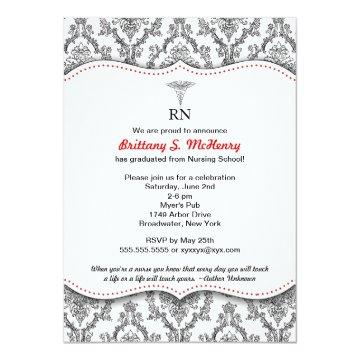 Classic Black and Red Nurse graduation pinning Card