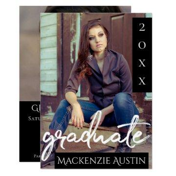 Classic Graduate | Black and White Brush 2 Photo Invitation