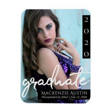 Classic Graduate | Black and White Brush Photo Magnet