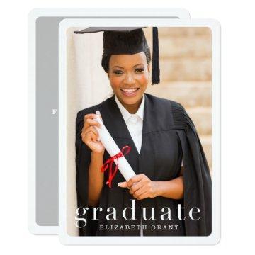 Classic Modern Photo Graduation Announcement