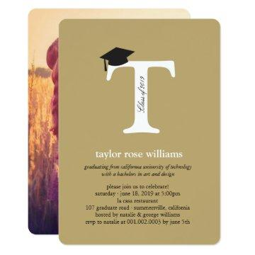 Classic Monogram Alphabet Photo Graduation Party Invitation