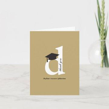 Classic Monogram D Graduation Cap Modern Photo Thank You Card